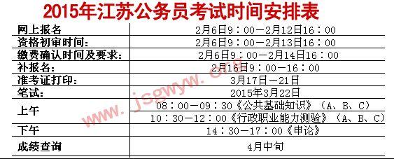 2015年江苏公务员考试时间安排
